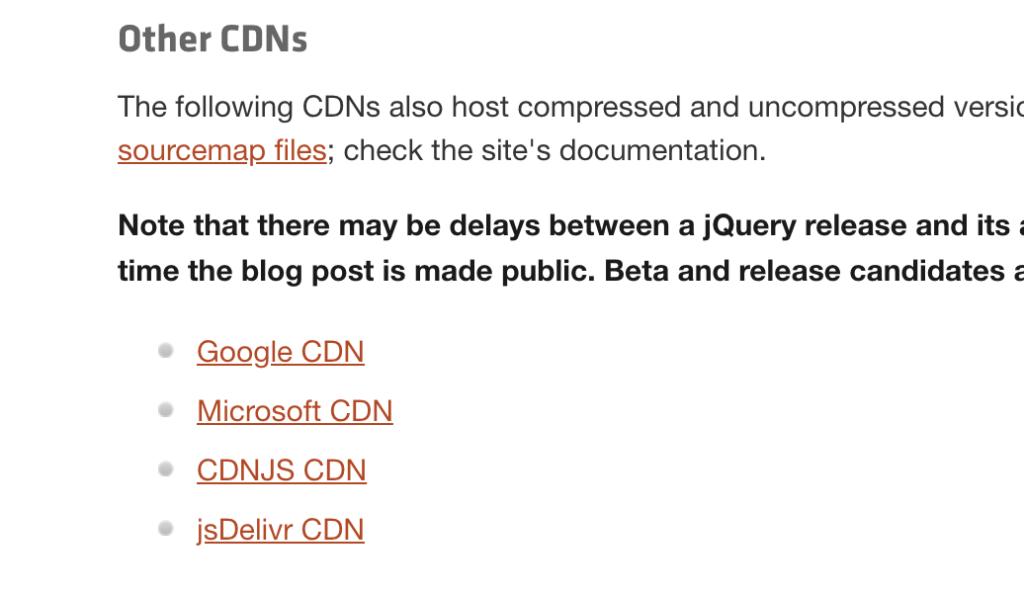 jQueryダウンロードページ