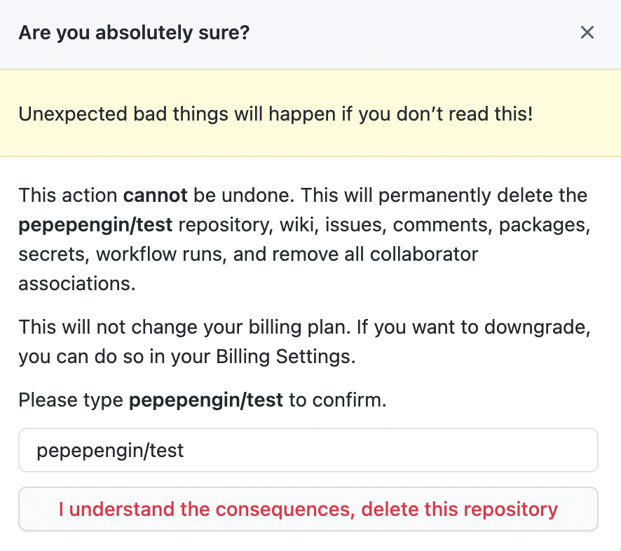 Delete this repository画面
