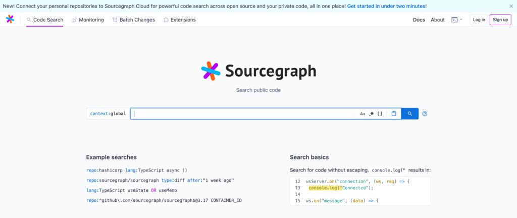 Sourcegraph検索ページ