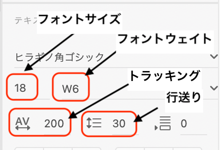 デザインカンプの値の説明